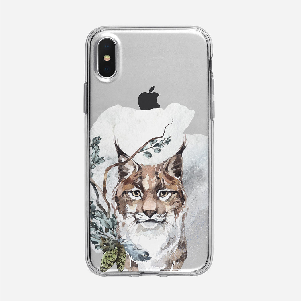 Winter Watercolor Lynx iPhone Clear Case from Tiny Quail