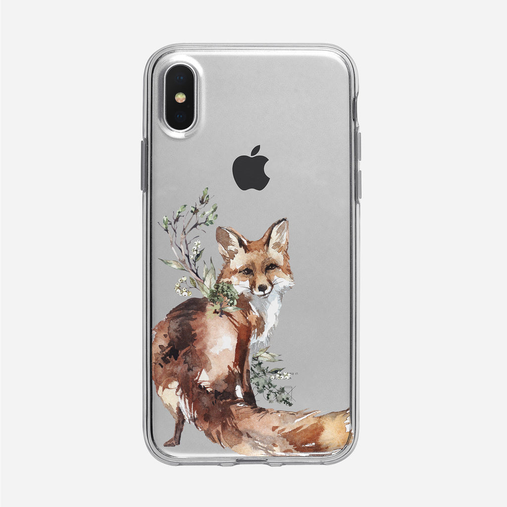 Friendly Woodland Fox iPhone Clear Case from Tiny Quail