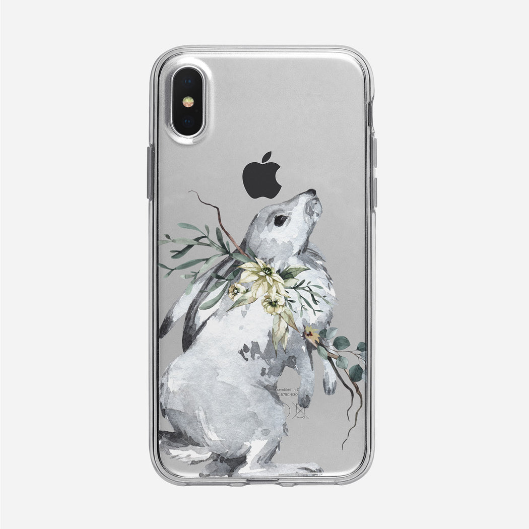 Winter Watercolor Rabbit iPhone Clear Case from Tiny Quail