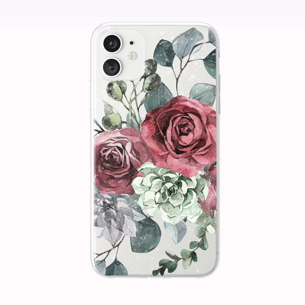 Winter Roses iPhone Case white from Tiny Quail