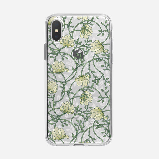 Art Nouveau White Floral Clear iPhone Case from Tiny Quail