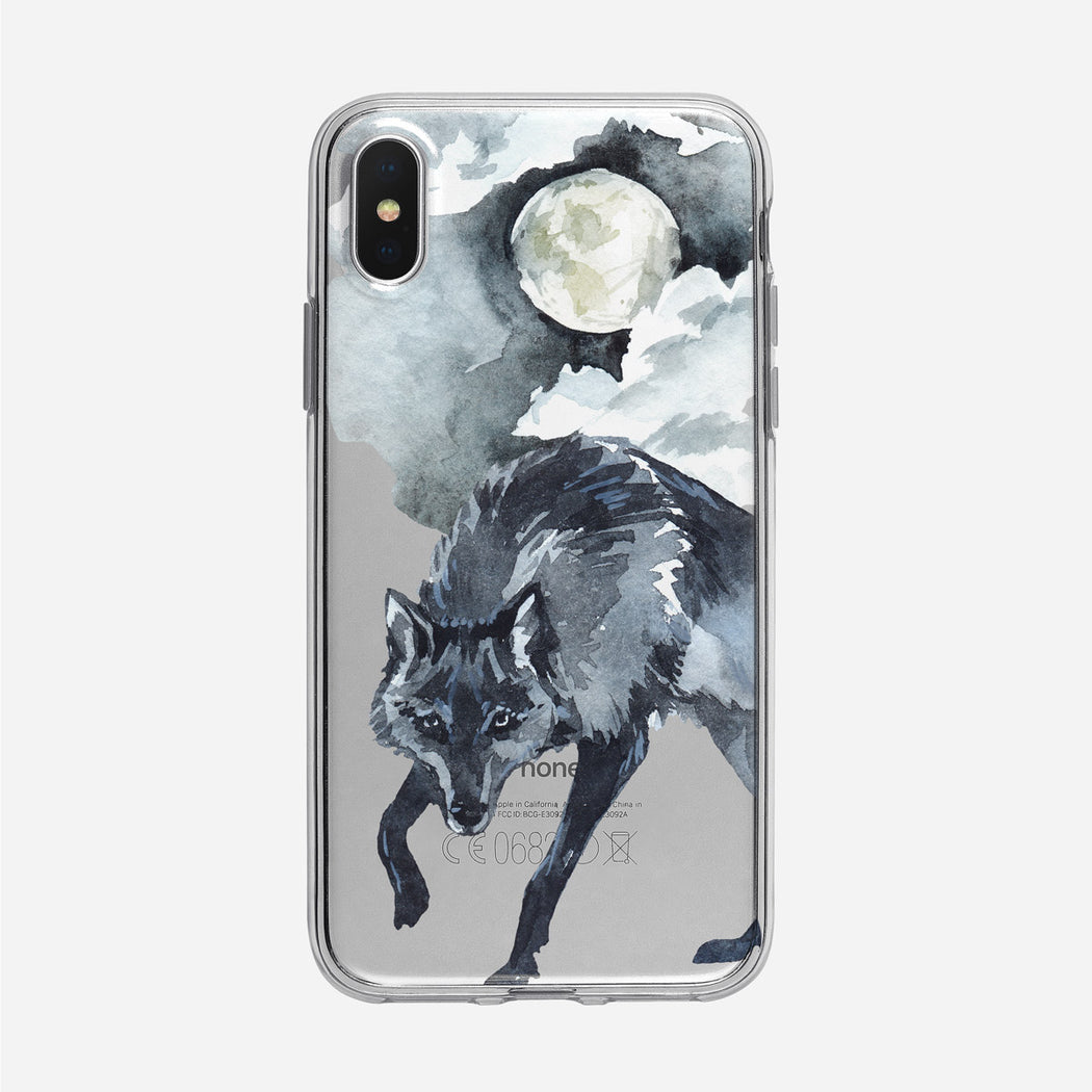 Winter Moonlight Black Wolf iPhone Clear Case from Tiny Quail