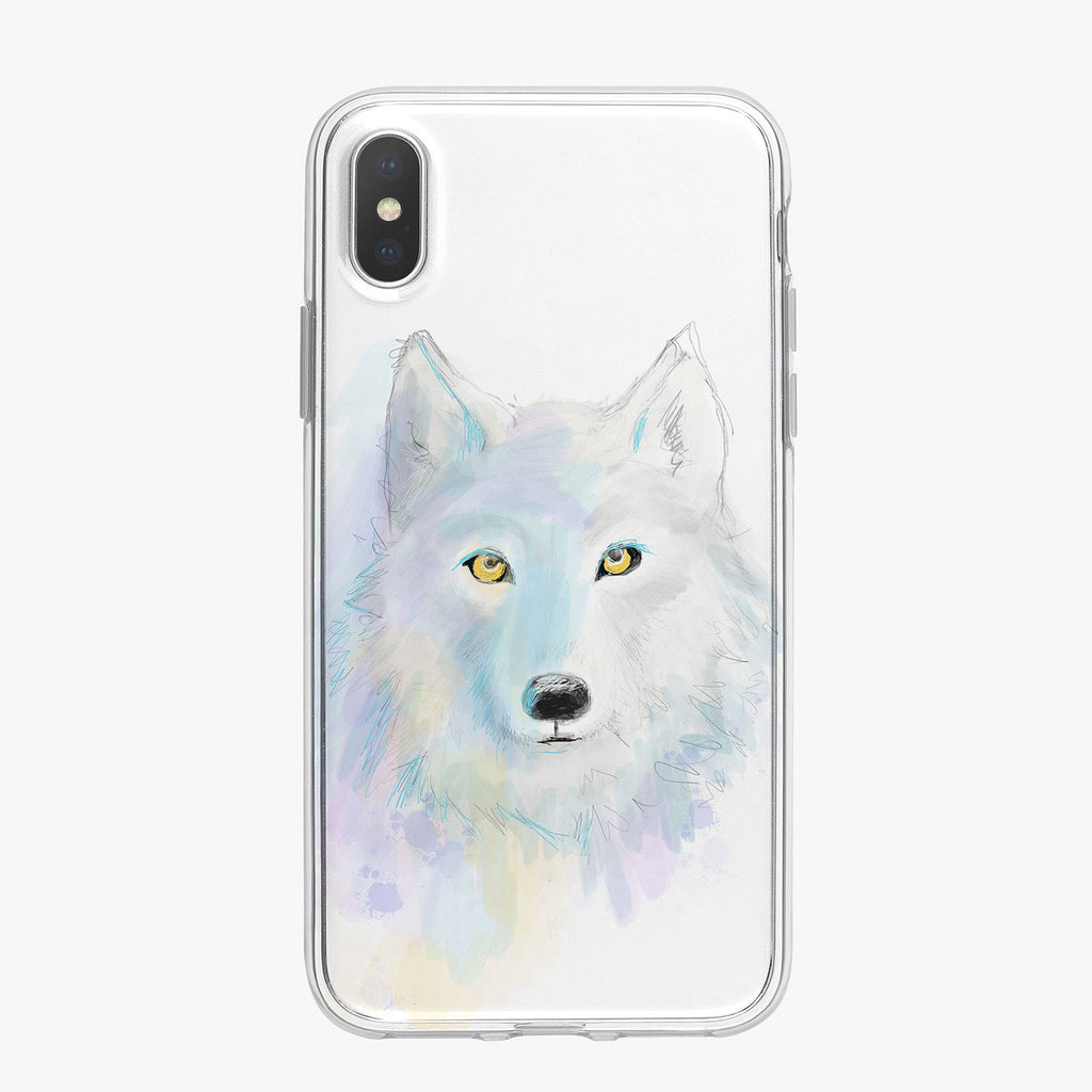Colorful Watercolor Wolf Designer iPhone Case From Tiny Quail