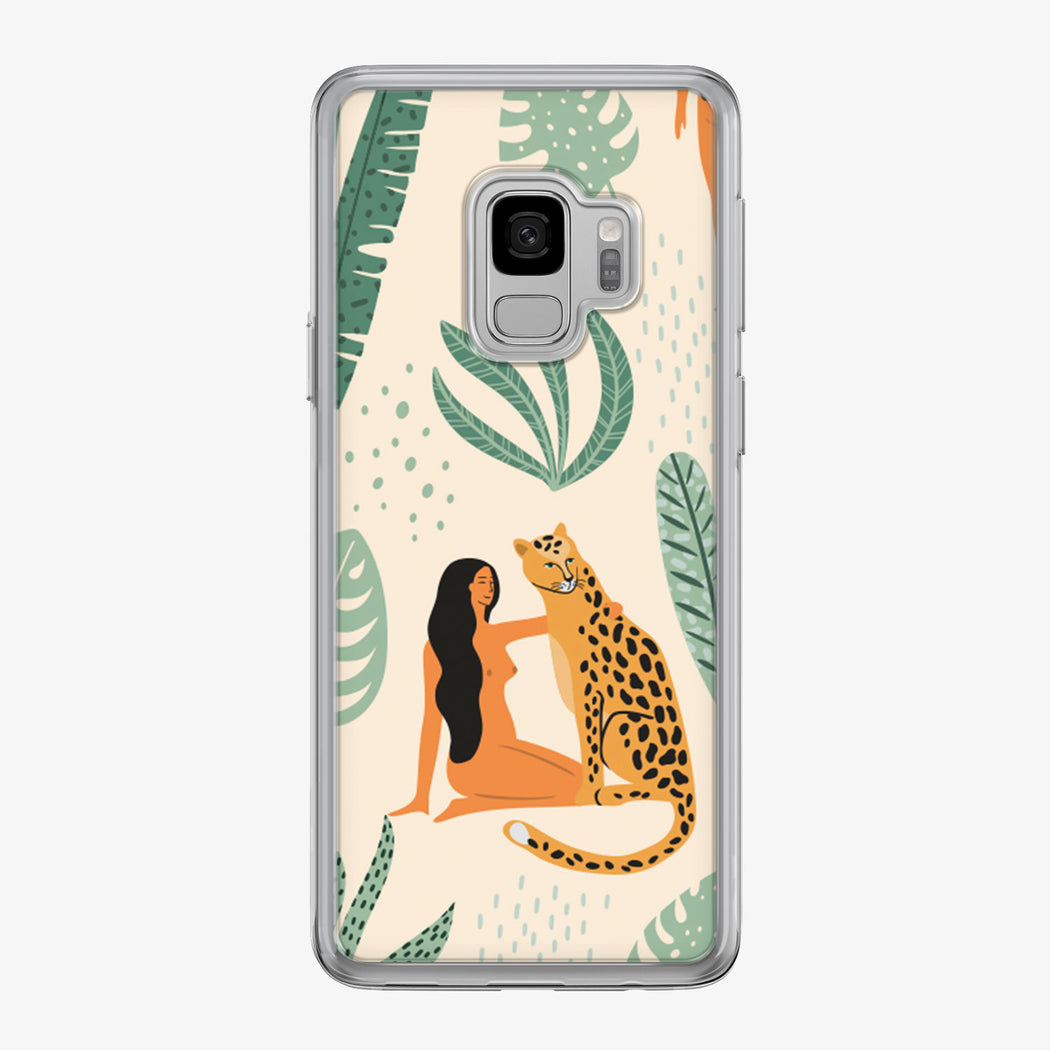 Leopard Sitting with Woman in Jungle Samsung Galaxy Phone Case by Tiny Quail