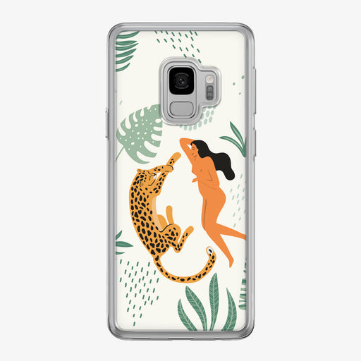 Jungle Leopard with Woman Samsung Galaxy Phone Case by Tiny Quail