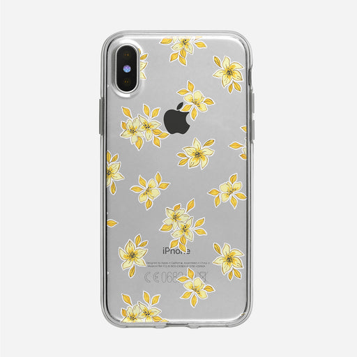 Simple Yellow Floral Pattern Clear iPhone Case from Tiny Quail