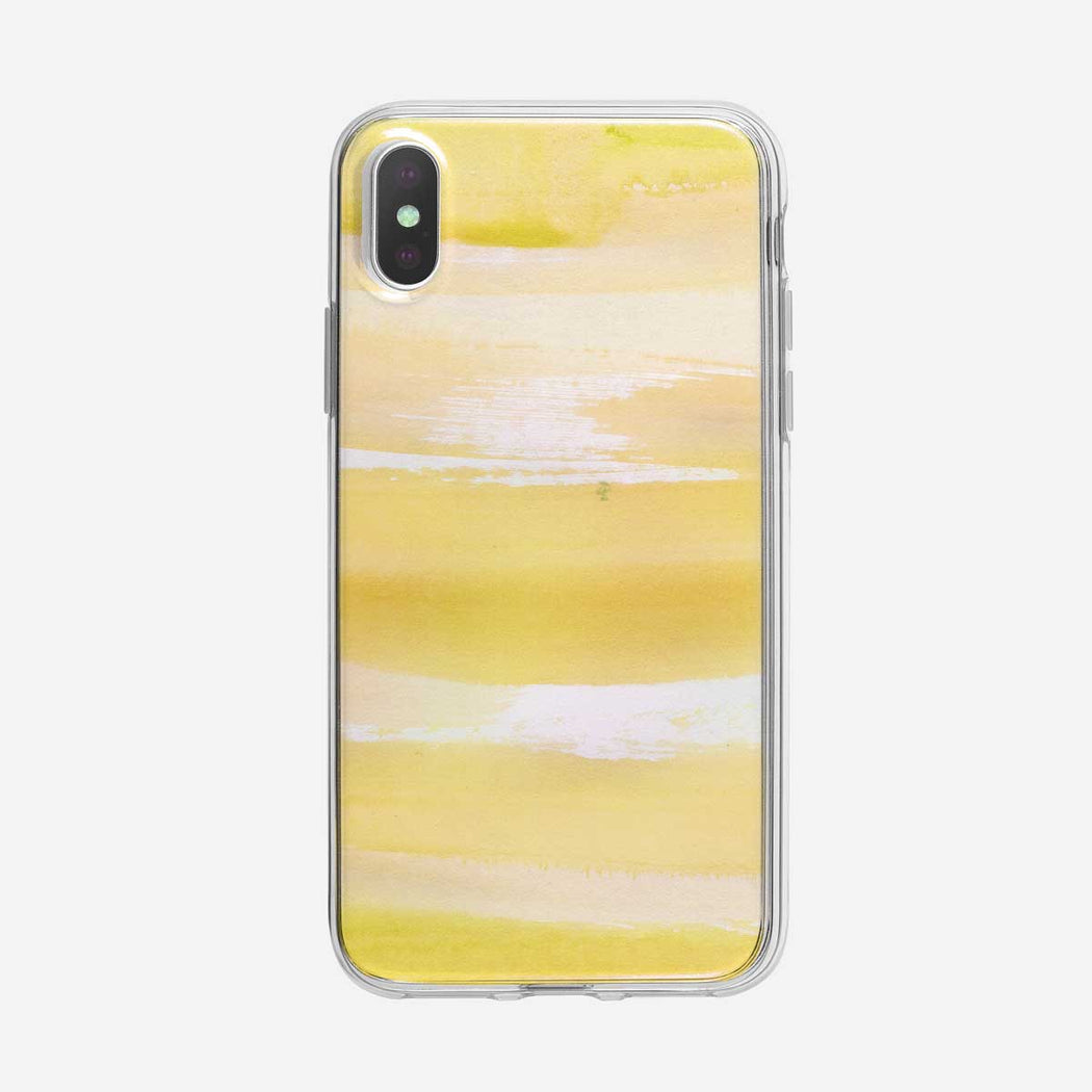 Abstract Yellow Watercolor Stripes iPhone Case by Tiny Quail