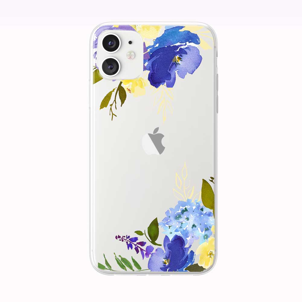 Yellow and Blue Floral Corners iPhone Case from Tiny Quail