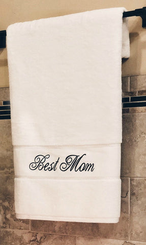 Image of towel for mom, bath towel gift, best mom towel, embroidered towel