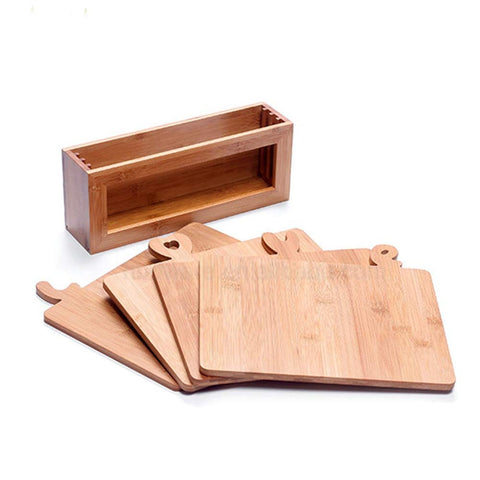 Image of wooden cutting board set for kitchen with stand