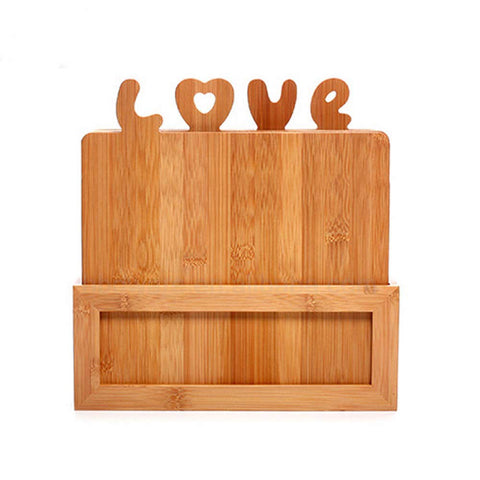 Image of bamboo boards set with stand holder four cutting boards