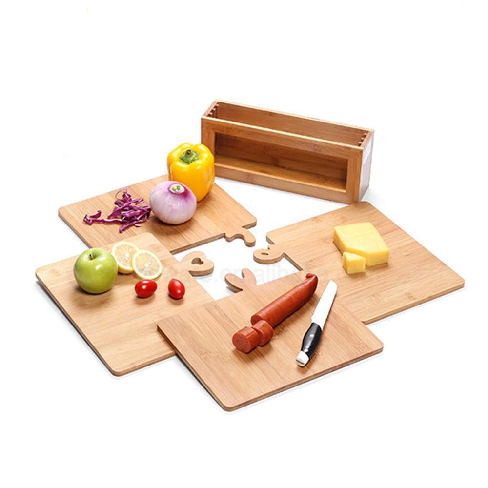 bamboo index cutting boards set for kitchen with holder
