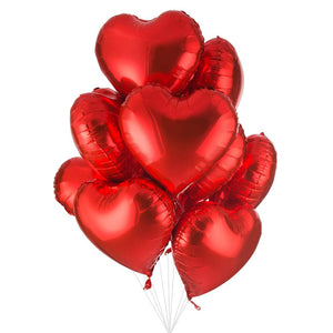Red Heart Mylar Balloon Set of 12