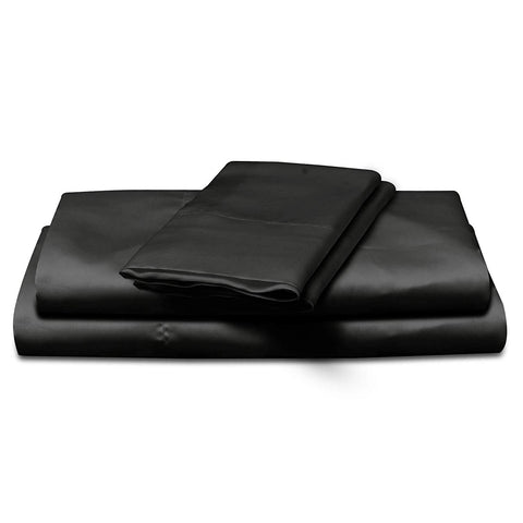 Image of black satin sheet set king or queen size