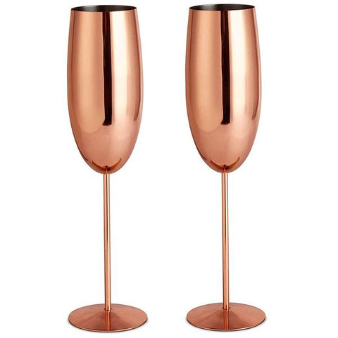 Image of Copper Champagne Flute Set