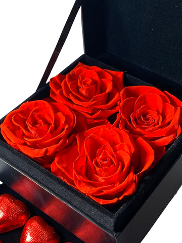 Mini Red Roses & Chocolates Gift Box