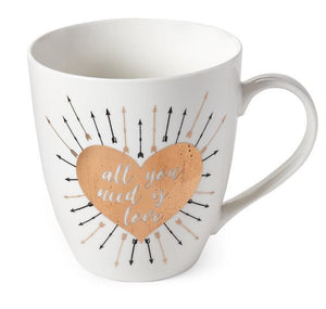 mug with a golden heart and all you need is love writing