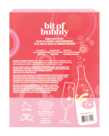 Image of sparkle like champagne glass and bubble bath gift set