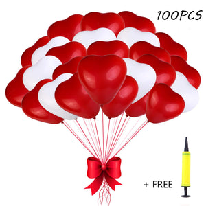 Red & White Heart Latex Balloon Set of 100