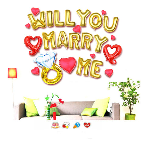 will you marry me balloon sign for proposal decorations