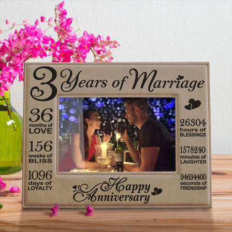 Image of 3 Years of Marriage Leather Picture Frame