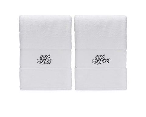 Image of his and hers bath towels for anniversary gifts for couples