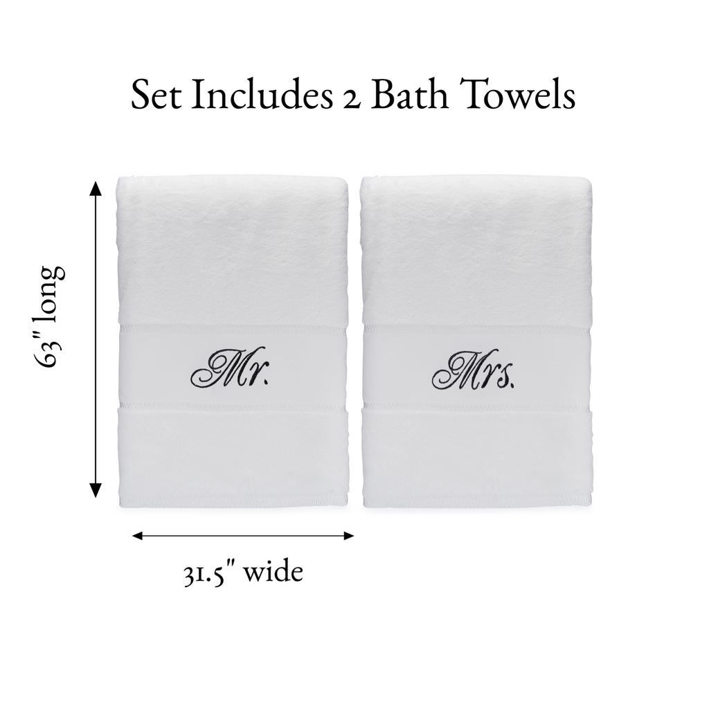 Mr Mrs Bath Towel Set Perfect Wedding Anniversary Gift For Couples Romance Helpers