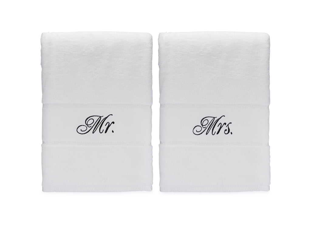 Mr & Mrs Bath Towels Gift Set