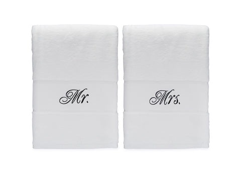 Image of Mr & Mrs Bath Towels Gift Set