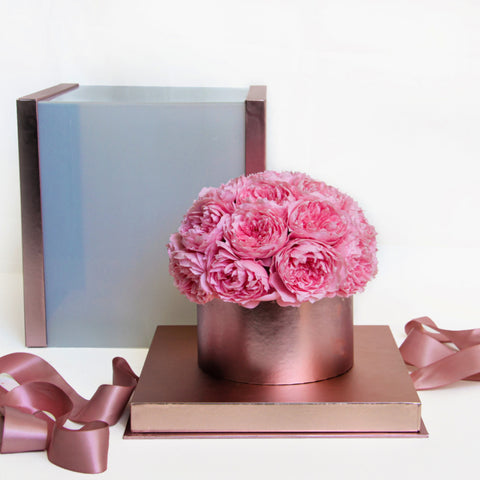 Image of preserved roses gift box pink eternal roses