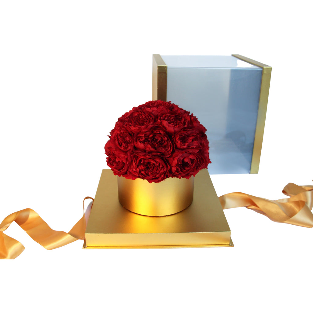eternal preserved red roses in gold gift box