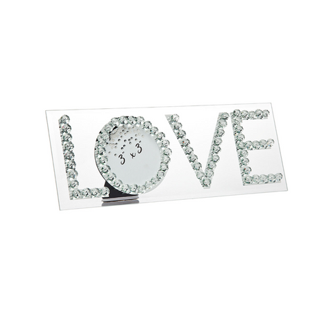 glass romantic photo frame spelling love