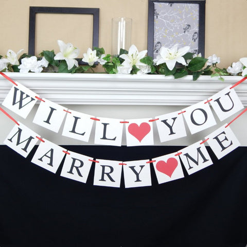 Image of will you marry me banner for at home proposal decorations