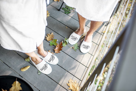 Image of matching couple hotel bath slipper set