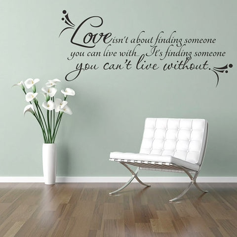 love is finding someone you can't live without wall decal romantic bedroom decoration