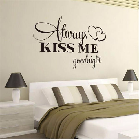 Image of always kiss me goodnight romantic bedroom wall decorations