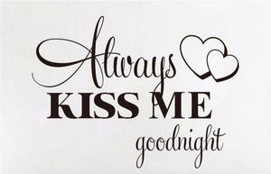 always kiss me goodnight vinyl wall decal for romantic decorations