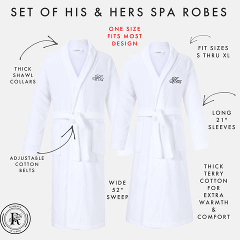 His and Hers Robes | Set of Two Bathrobes with His & Hers Monograms