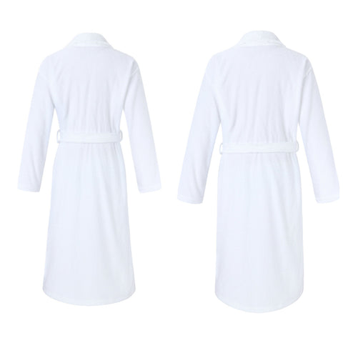 Image of back side of Mr and Mrs terry cotton matching bathrobe set for couples
