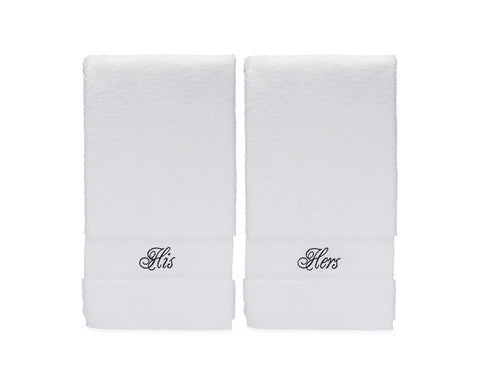 Image of his and hers hand towels set for cotton anniversary gift for couples