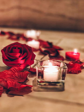 Image of romantic couple, romantic night, romantic bedroom decorations, romantic candles