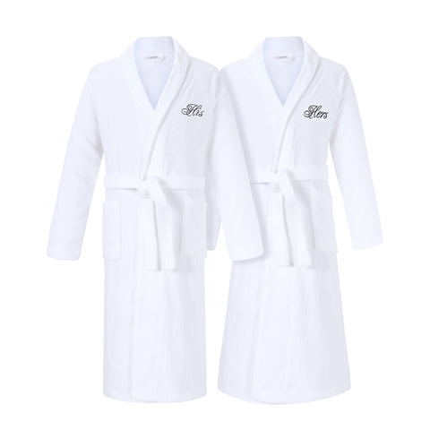 Image of his and hers bathrobe set matching robes for couple