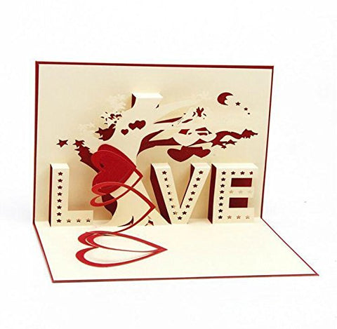 Image of Love greeting card, pop-up card, 3D card, romantic card
