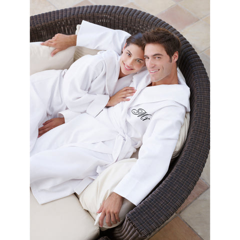 Image of Mr and Mrs Hooded Bathrobes | Set of Two Spa Robes with Hoods with Mr & Mrs Monograms