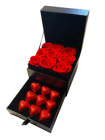 Image of Mini Red Roses & Chocolates Gift Box