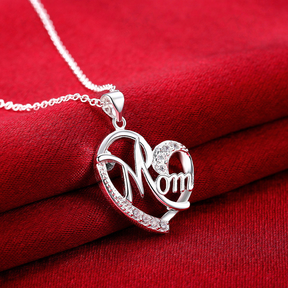 Mom Sterling Silver Heart Necklace and Pendant
