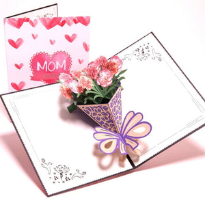 I Love Mom 3D Pop-Art Card with Flowers