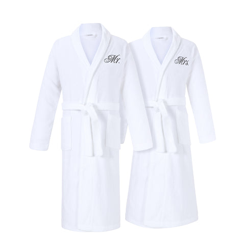 Image of mr and mrs bathrobes set for couples for cotton anniversary gift