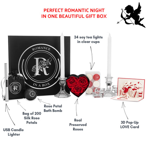 Image of romance kit for couples with candles and rose petals valentines day