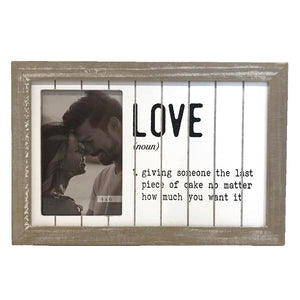 distressed wood photo frame with definition of love for wood anniversary gifts